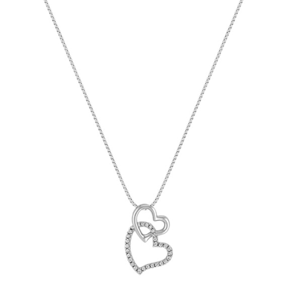 Diamond Double Heart Dangle Pendant (18)