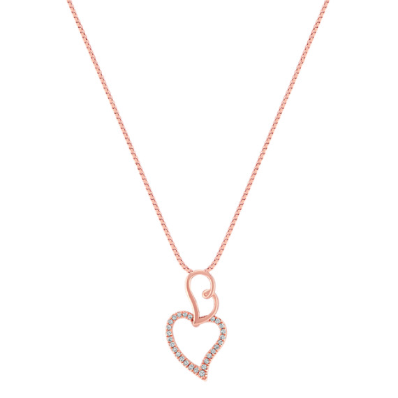 Diamond Double Heart Pendant in Rose Gold (18)