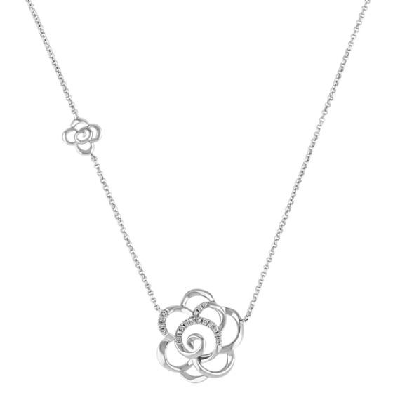 "Diamond Flower Necklace (18"")"