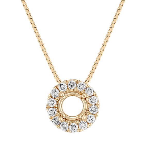 Diamond Halo Pendant with Pavé-Setting (18)