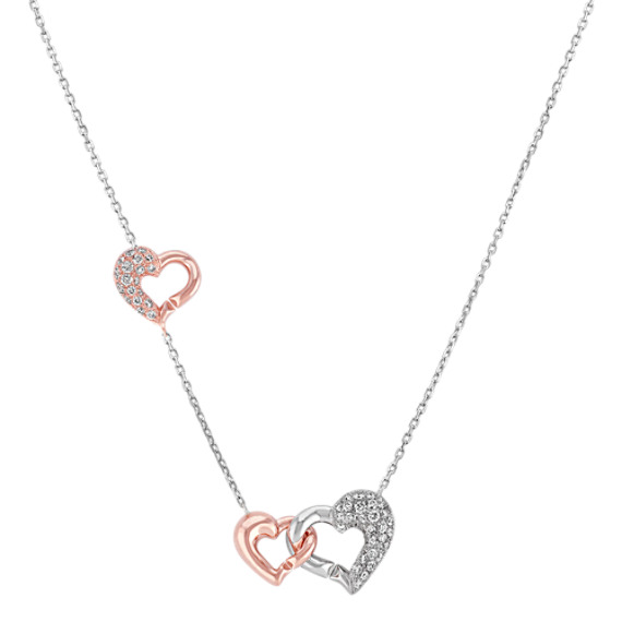 Diamond Heart Lariat Necklace in 14k Rose & White Gold