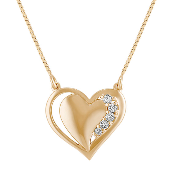 Diamond Heart Necklace with Pavé Setting