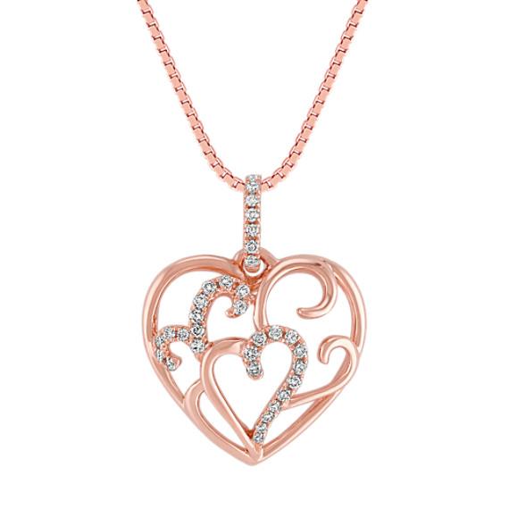 Diamond Heart Pendant in 14k Rose Gold (18)