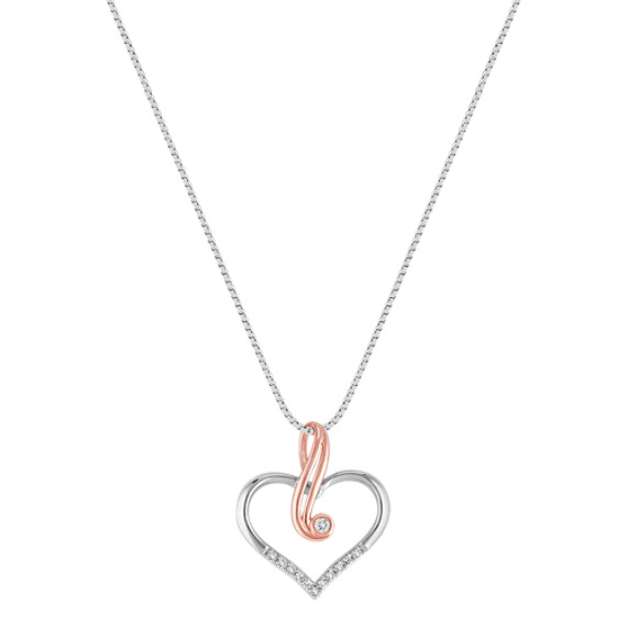Diamond Heart Pendant in 14k White and Rose Gold (18)