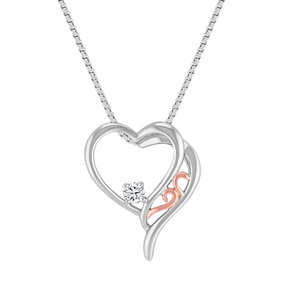 Diamond Heart Pendant in Sterling Silver and 14k Rose Gold (18)