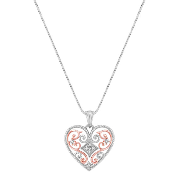 "Diamond Heart Swirl Pendant in 14k Rose Gold and Sterling Silver (18"")"