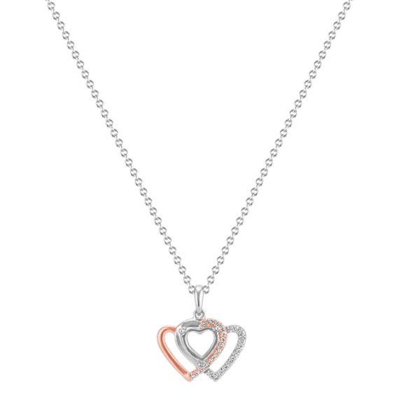 "Diamond Heart Trio Pendant for Heart-Shaped Gemstone (22"")"