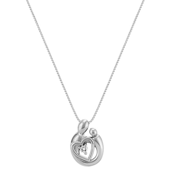 """Diamond Mother & Child Heart Pendant in Sterling Silver (18"""")"""