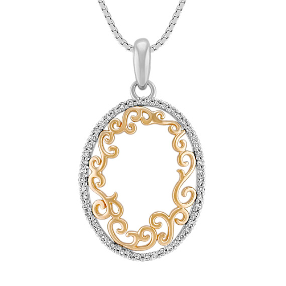Diamond Oval Pendant in Two-Tone Gold (18)