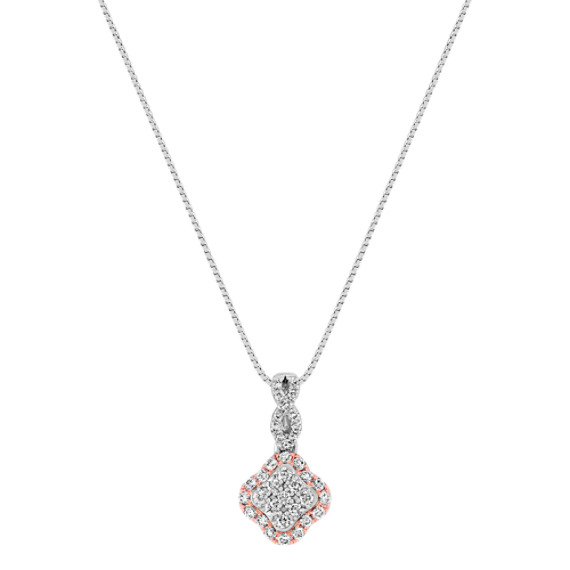 Diamond Pendant in White and Rose Gold (18)