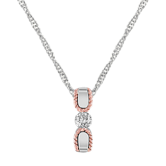 "Diamond Sterling Silver and 14k Rose Gold Pendant (18"")"