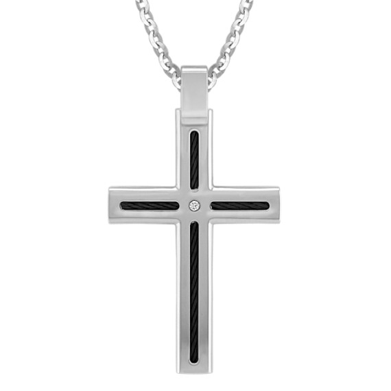 Diamond Titanium Cross Necklace (24)