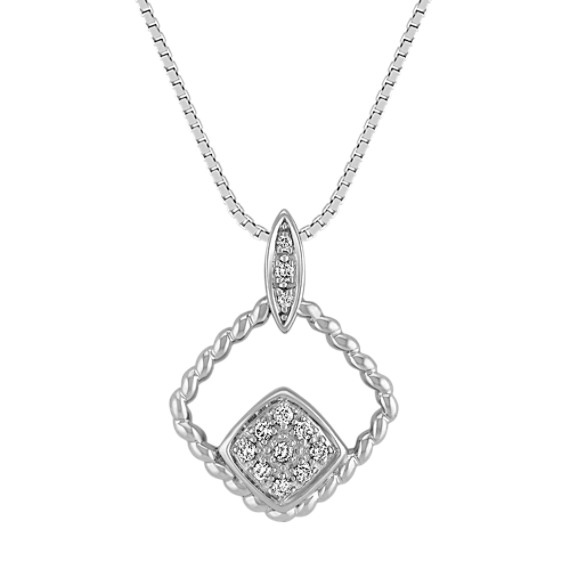 Diamond Twist Contemporary Pendant in Sterling Silver (18)