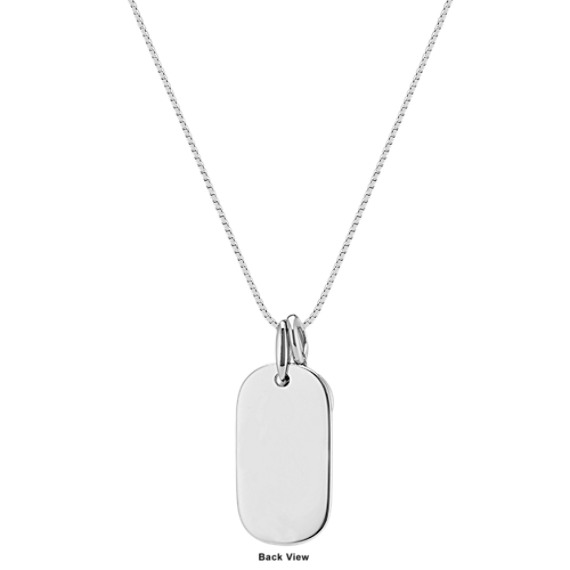 Dog Tag Pendant with London Blue Topaz Accent in Sterling Silver (20 in.)