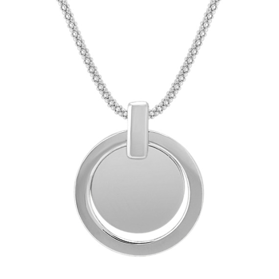 "Double Circle Pendant in Sterling Silver (18"")"