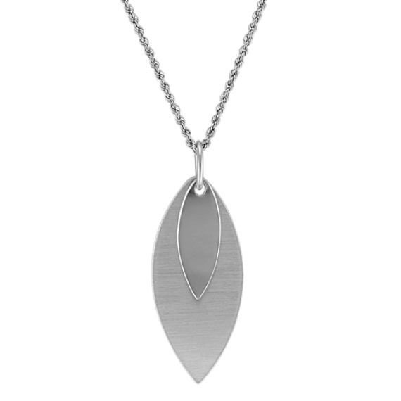 Double Leaf Pendant in Sterling Silver with Adjustable Chain (18)