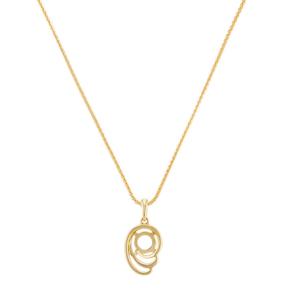 Double Swirl Pendant for Round Gemstone in 14k Yellow Gold (22 in.)