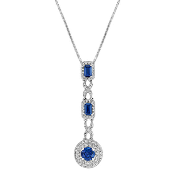 Emerald Cut and Round Sapphire and Diamond Drop Pendant (22)