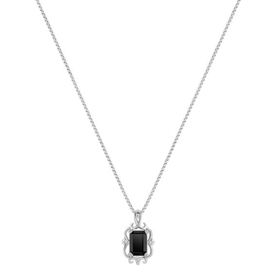 Emerald Cut Black Sapphire and Diamond Pendant (18)