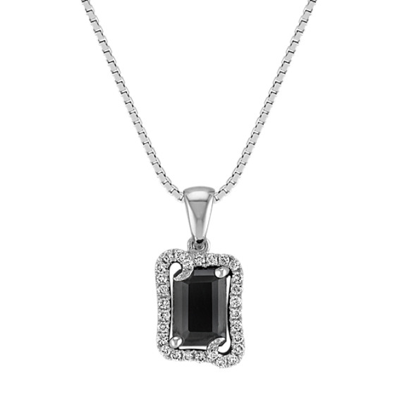 Emerald Cut Black Sapphire and Round Diamond Halo Pendant (18)