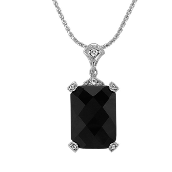 Emerald Cut Black Sapphire and Round Diamond Pendant (18)