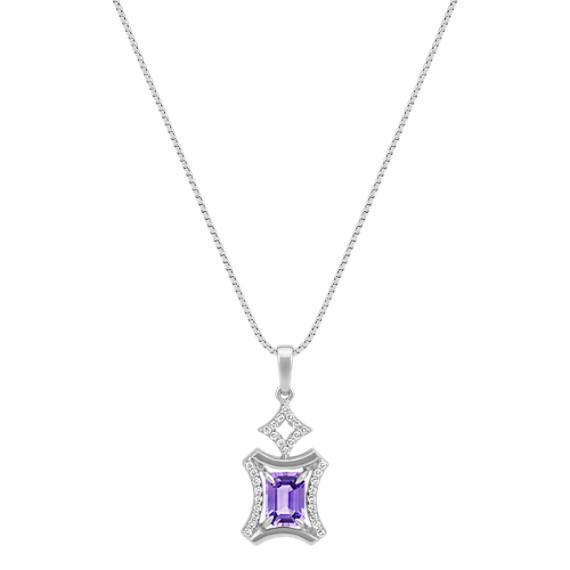 "Emerald Cut Lavender Sapphire and Round Diamond Rectangle Pendant (22"")"