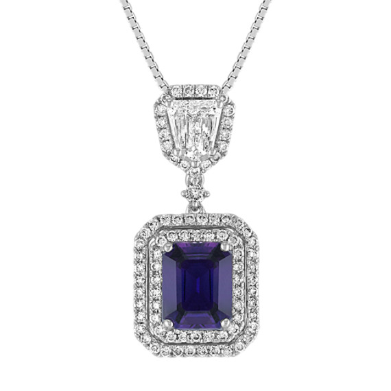 Emerald Cut Lavender Sapphire, Shield Shaped and Round Diamond Pendant (18)