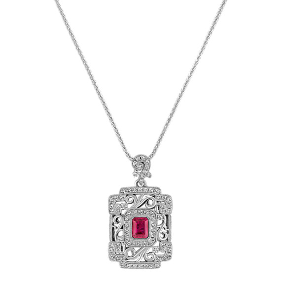 Emerald Cut Pink Sapphire and Round Diamond Pendant (22)