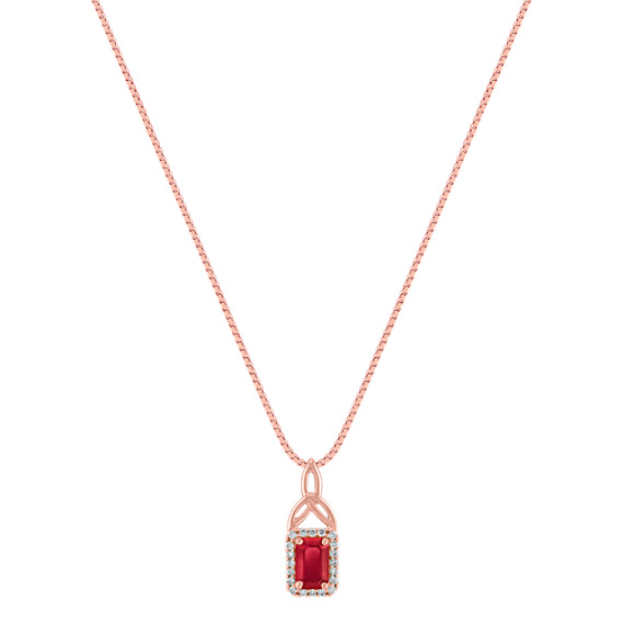 "Emerald Cut Ruby and Diamond Pendant in Rose Gold (18"")"