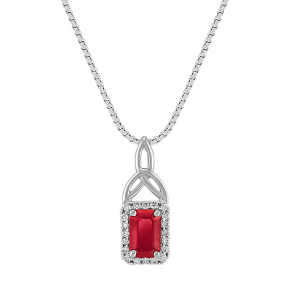 Emerald Cut Ruby and Round Diamond Pendant (18)