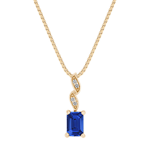 "Emerald Cut Sapphire and Diamond Pendant (18"")"