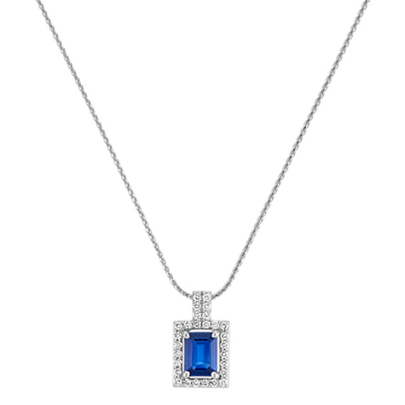 "Emerald Cut Traditional Sapphire and Round Diamond Rectangle Pendant (22"")"