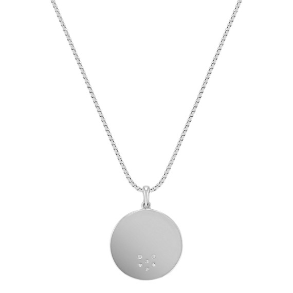 Engravable Diamond Circle Pendant in Sterling Silver (18)