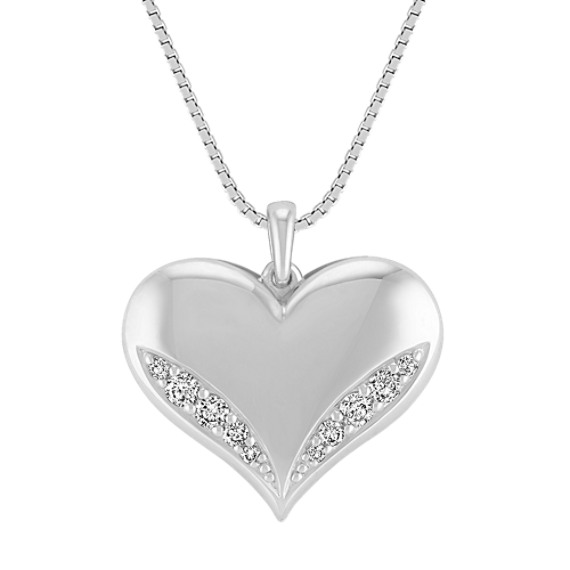 Engravable Diamond Heart Pendant in Sterling Silver (18)