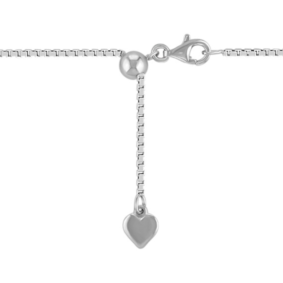 "Engravable Diamond Heart Pendant in Sterling Silver (18"")"
