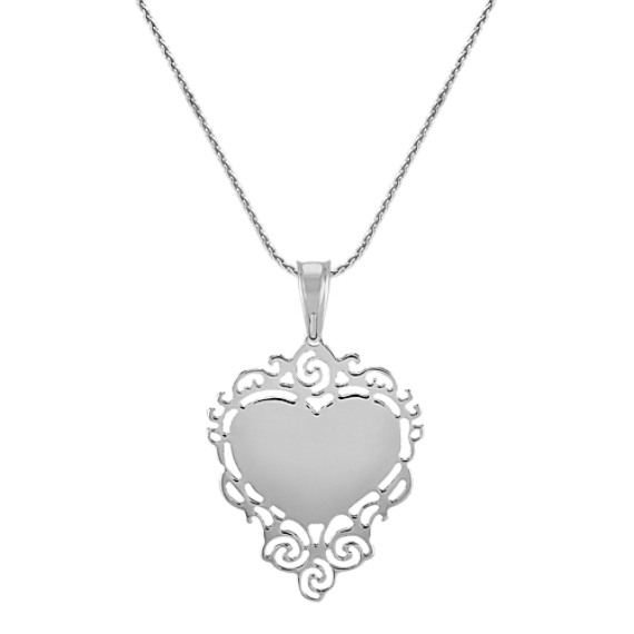 Engravable Sterling Silver Lace Heart Pendant (24)
