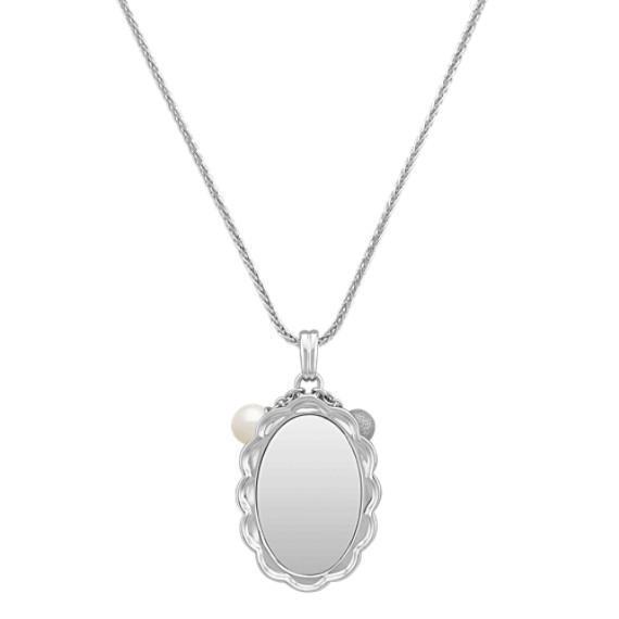 Engravable Sterling Silver Pendant with 5mm Cultured Freshwater Pearls (24)
