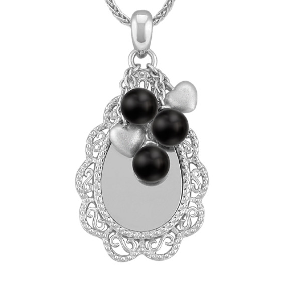 Engravable Sterling Silver Pendant with Black Agate Beads (24)