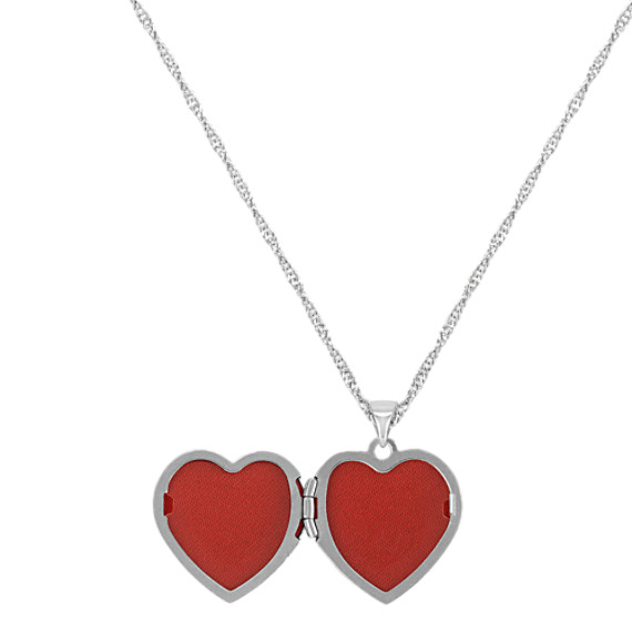 "Engraved 14k White Gold Heart Shaped Locket (18"")"