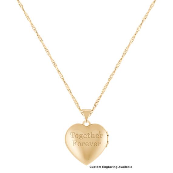 "Engraved 14k Yellow Gold Heart Shaped Locket (18"")"