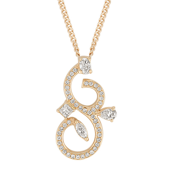 "Fancy Shape and Round Diamond Pendant (18"")"