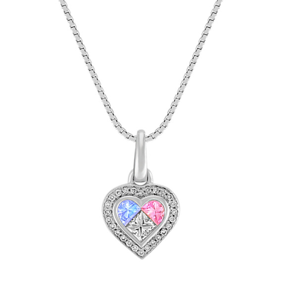 Fancy Shaped Multi-Color Sapphire, Princess Cut and Round Diamond Heart Pendant (18)