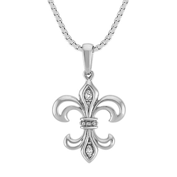 """Fleur De Lis Pendant with Round Diamond Accent (18"""")"""