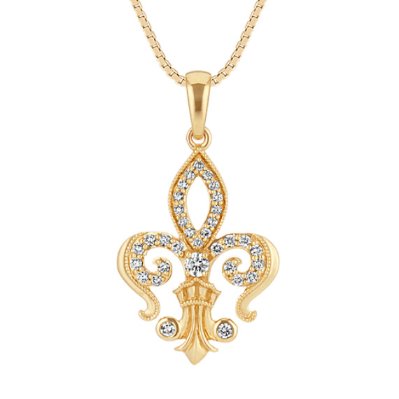 "Fleur De Lis Round Diamond Pendant in 14k Yellow Gold (18"")"