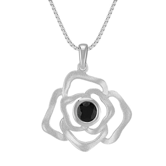 "Floral Black Sapphire and Sterling Silver Pendant (18"")"
