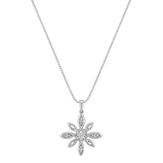 Flower Diamond Pendant in Sterling Silver (18)