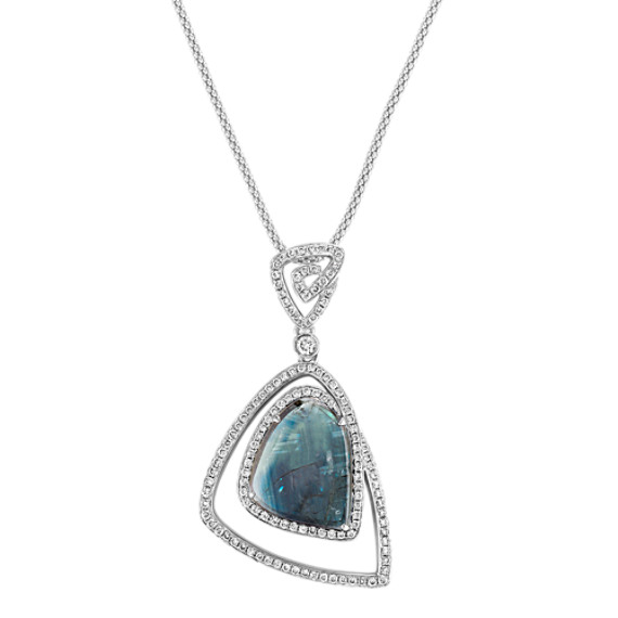 Freeform Blue Green Sapphire and Round Diamond Pendant (22)