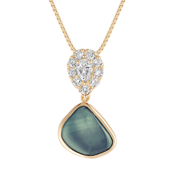 Freeform Blue Green Sapphire, Pear Shaped and Round Diamond Pendant (18)