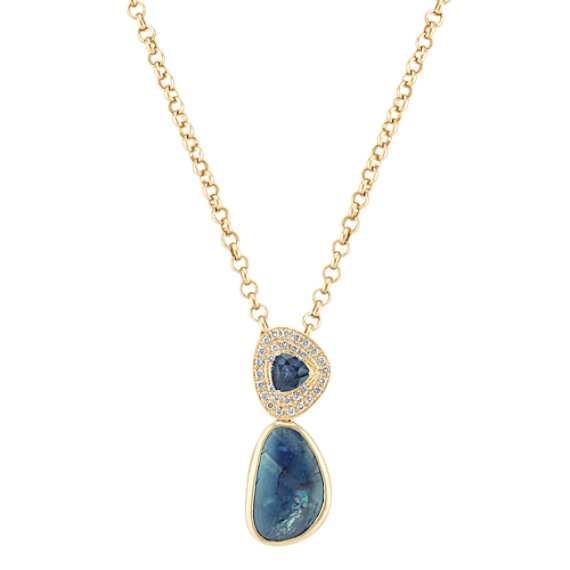 "Freeform Blue Green Sapphire, Trillion Sapphire, and Diamond Pendant (18"")"