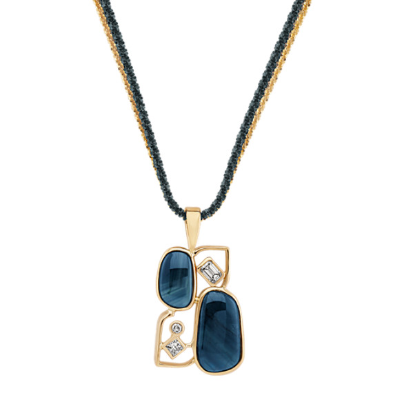 "Freeform Bluegreen Sapphire and Fancy Shape and Round Diamond Pendant (20"")"
